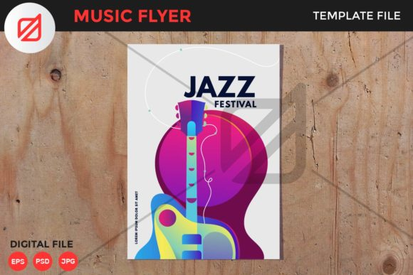 Print on Demand: Jazz Music Festival Flyer Template V2 Graphic Print Templates By illusatrian