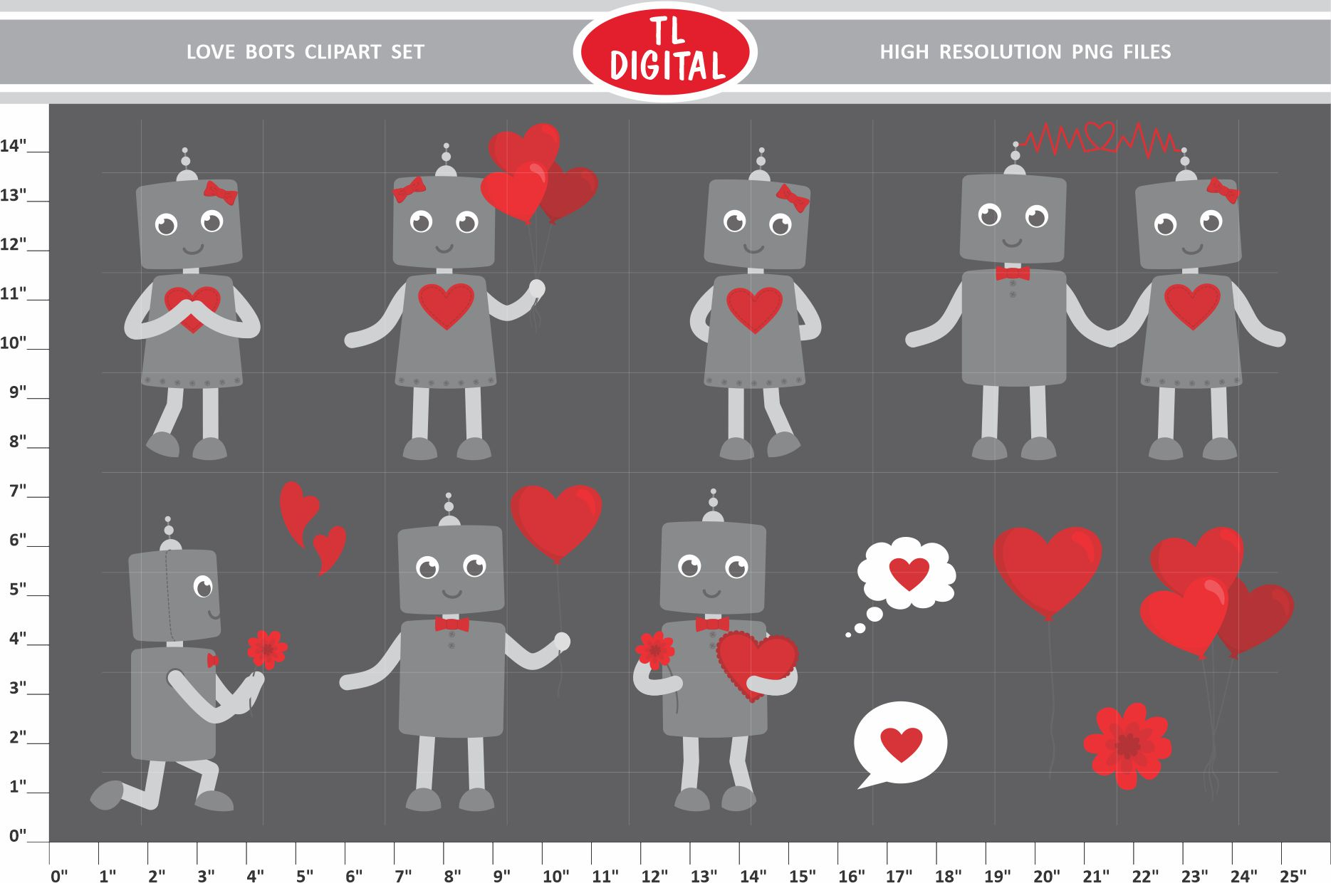 Love Robots Valentines Clipart Set Graphic By Tl Digital Creative Fabrica