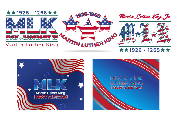 Print on Demand: Martin Luther King Day Lettering Set Graphic Illustrations By iop_micro