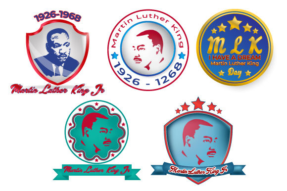 Print on Demand: Martin Luther King Jr. Day Set Pin Graphic Illustrations By iop_micro