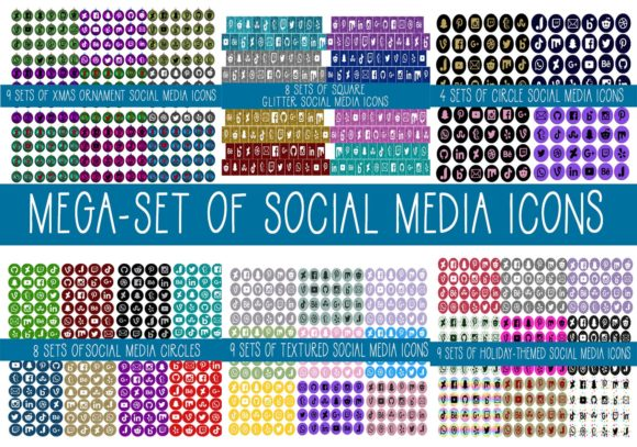 Print on Demand: Mega Set of Social Media Icons Graphic Web Elements By capeairforce