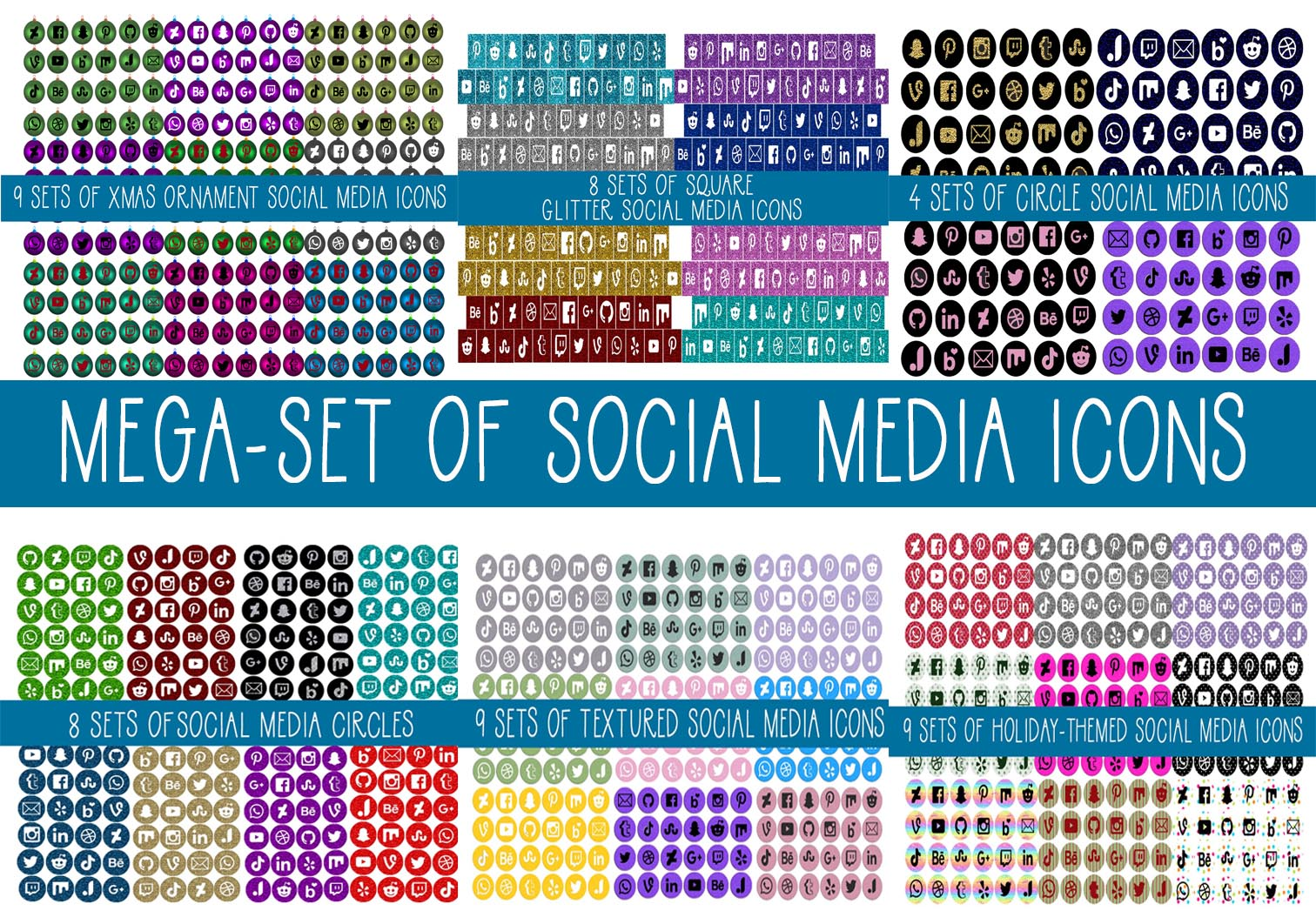 Download Free Mega Set Of Social Media Icons Grafik Von Capeairforce for Cricut Explore, Silhouette and other cutting machines.