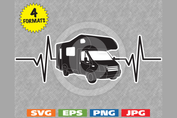 Download Free Motorhome Rv Heartbeat Graphic By Idrawsilhouettes Creative for Cricut Explore, Silhouette and other cutting machines.