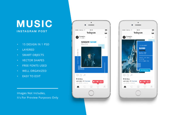 Download Free Music Instagram Post Banner Template Graphic By Formatikastd for Cricut Explore, Silhouette and other cutting machines.