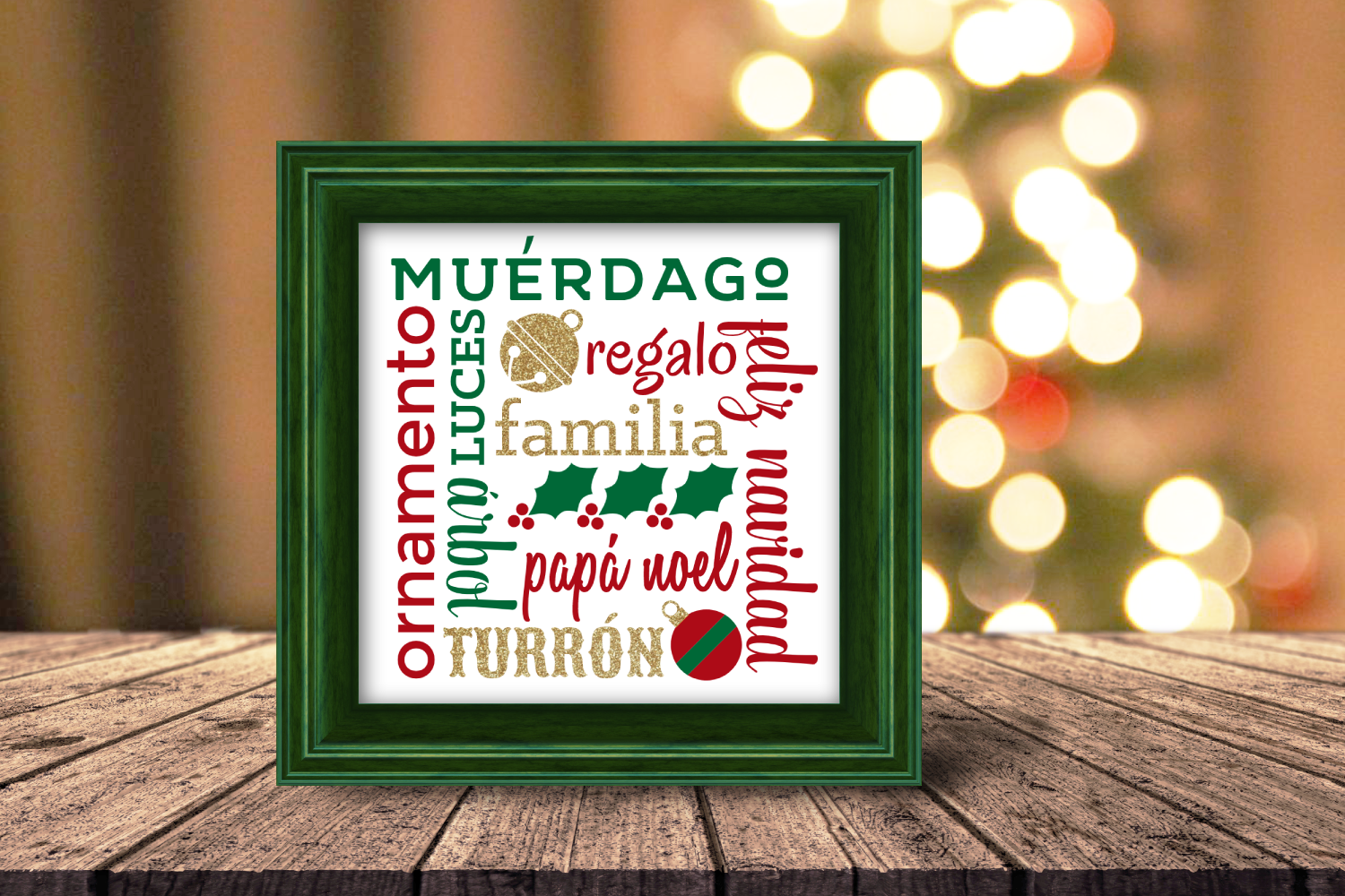 Download Free Navidad Cuadrado Christmas Art Graphic By Designedbygeeks for Cricut Explore, Silhouette and other cutting machines.