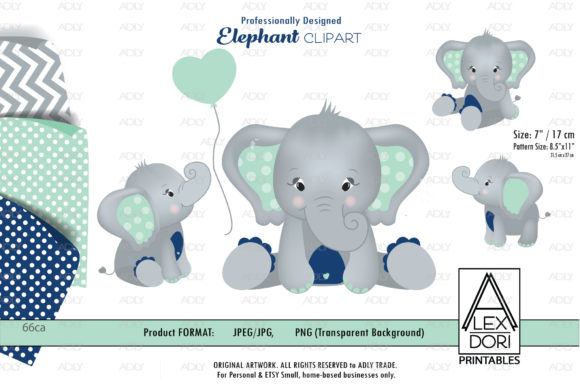 Print on Demand: Navy Blue and Mint Grey Elephant Graphic Illustrations By adlydigital - Image 1