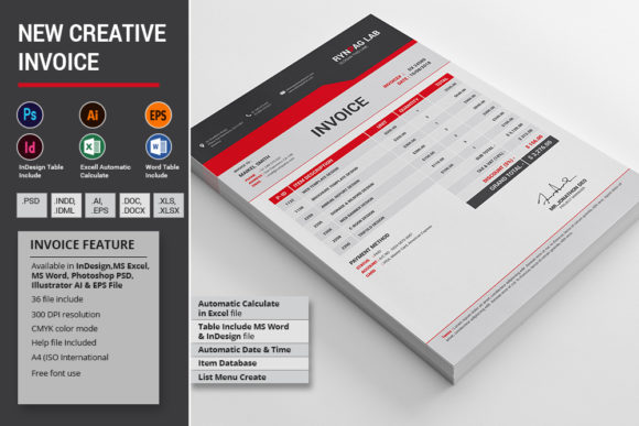 Download Free New Creative Invoice Graphic By Alimran24 Creative Fabrica for Cricut Explore, Silhouette and other cutting machines.