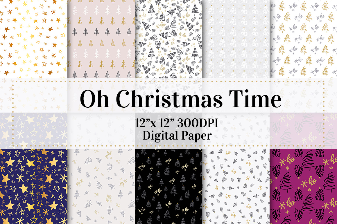 Download Free Oh Christmas Time Digital Paper Graphic By Jennifer Chow for Cricut Explore, Silhouette and other cutting machines.