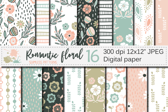 Pastel Floral Seamless Digital Paper Graphic Patterns By VR Digital Design