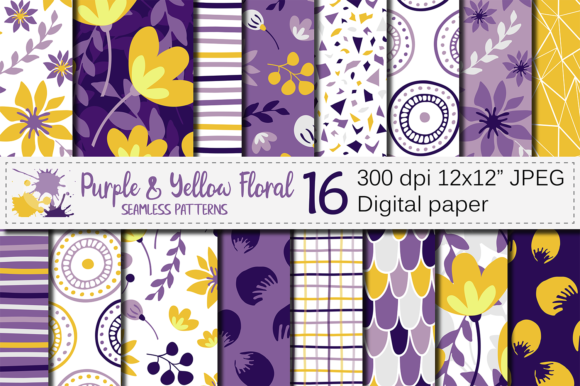 Purple Yellow Floral Seamless Patterns Graphic Patterns By VR Digital Design