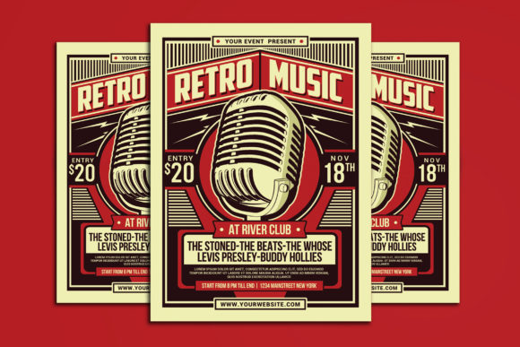 Retro Music Party Flyer Graphic Print Templates By muhamadiqbalhidayat