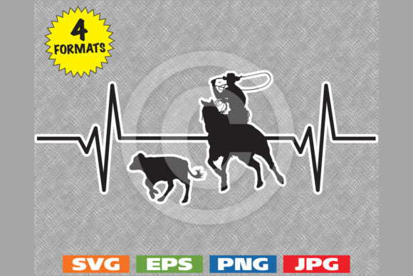 Download Free Rodeo Cowboy Calf Roping Heartbeat Graphic By Idrawsilhouettes for Cricut Explore, Silhouette and other cutting machines.