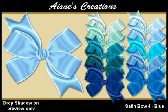Print on Demand: Satin Bow 4 - Blue Graphic Objects By Aisne