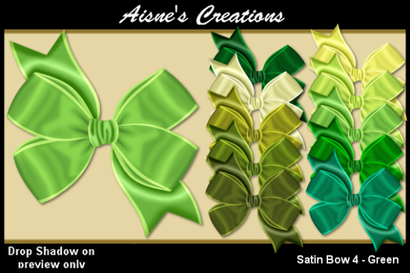 Print on Demand: Satin Bow 4 - Green Graphic Objects By Aisne