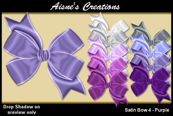 Print on Demand: Satin Bow 4 - Purple Graphic Objects By Aisne
