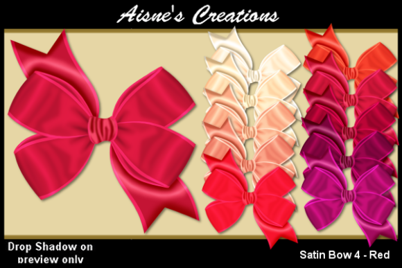 Print on Demand: Satin Bow 4 - Red Graphic Objects By Aisne