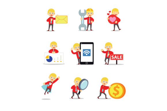 Download Free Set Of Business Character Accountant Man Graphic By for Cricut Explore, Silhouette and other cutting machines.