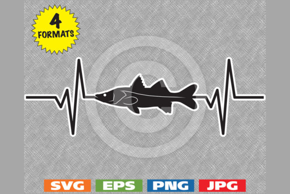 Download Snook Fish Fishing Heartbeat Graphic Graphic By Idrawsilhouettes Creative Fabrica