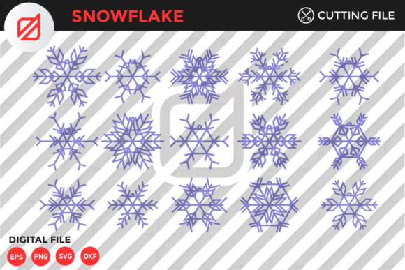 Download Free Snowflake Bundle Cutting File Graphic By Illusatrian Creative for Cricut Explore, Silhouette and other cutting machines.