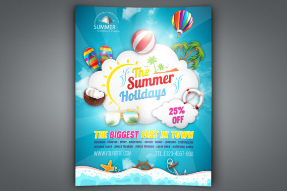 Print on Demand: Summer Travel Flyer Template Graphic Print Templates By OWPictures