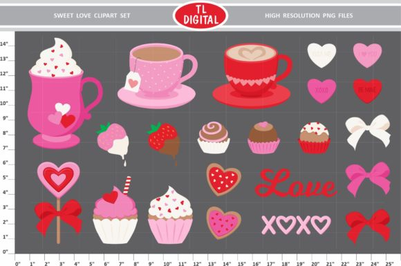 Sweet Love - Valentines Day Clipart Set Graphic Illustrations By TL Digital