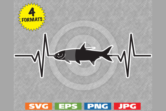 Download Free Tarpon Fish Silhouette Heartbeat Graphic By Idrawsilhouettes for Cricut Explore, Silhouette and other cutting machines.