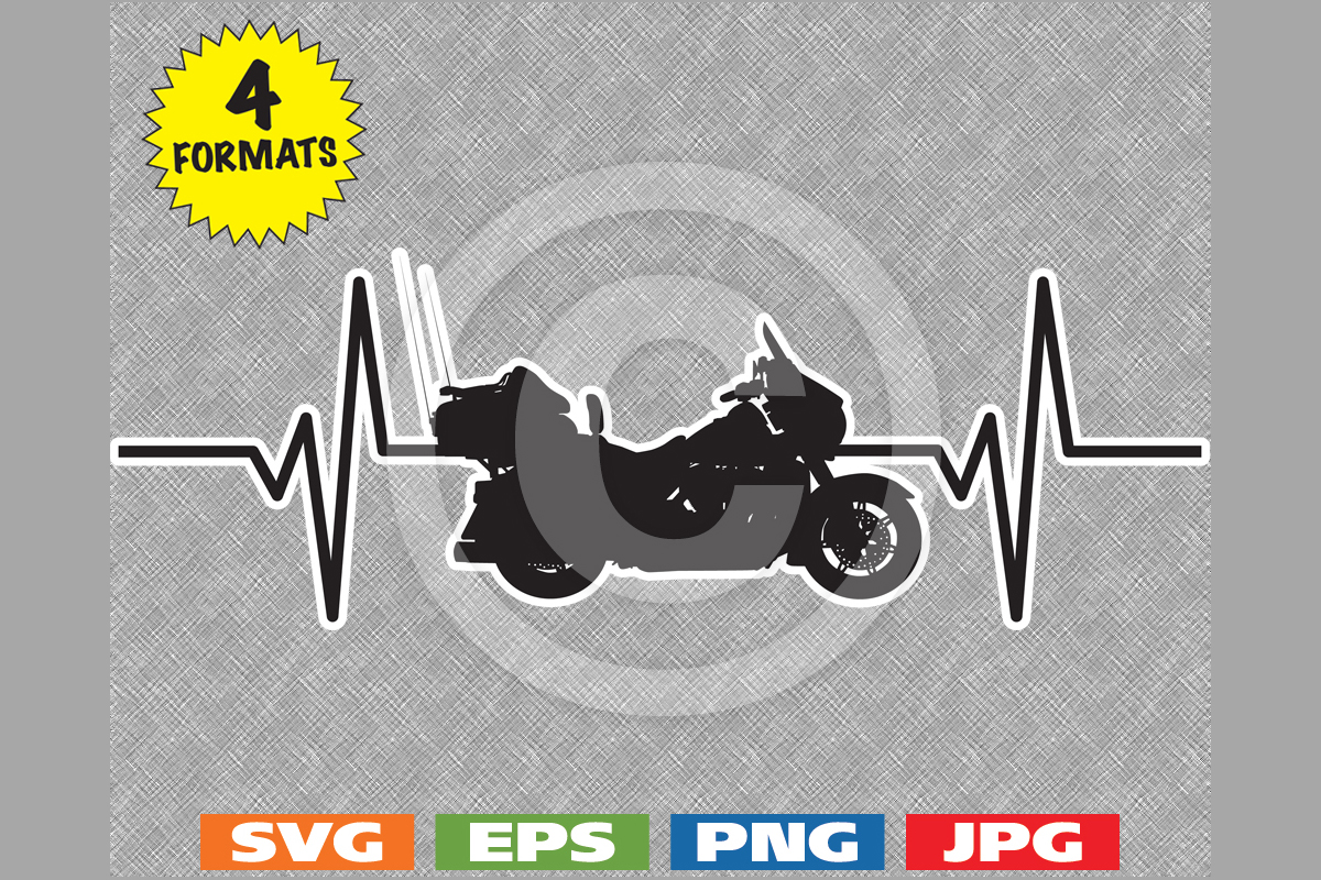 Download Free Touring Motorcycle Heartbeat Graphic Graphic By Idrawsilhouettes for Cricut Explore, Silhouette and other cutting machines.