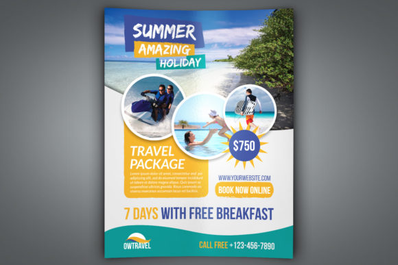 Download Free Travel Company Flyer Template Graphic By Owpictures Creative for Cricut Explore, Silhouette and other cutting machines.