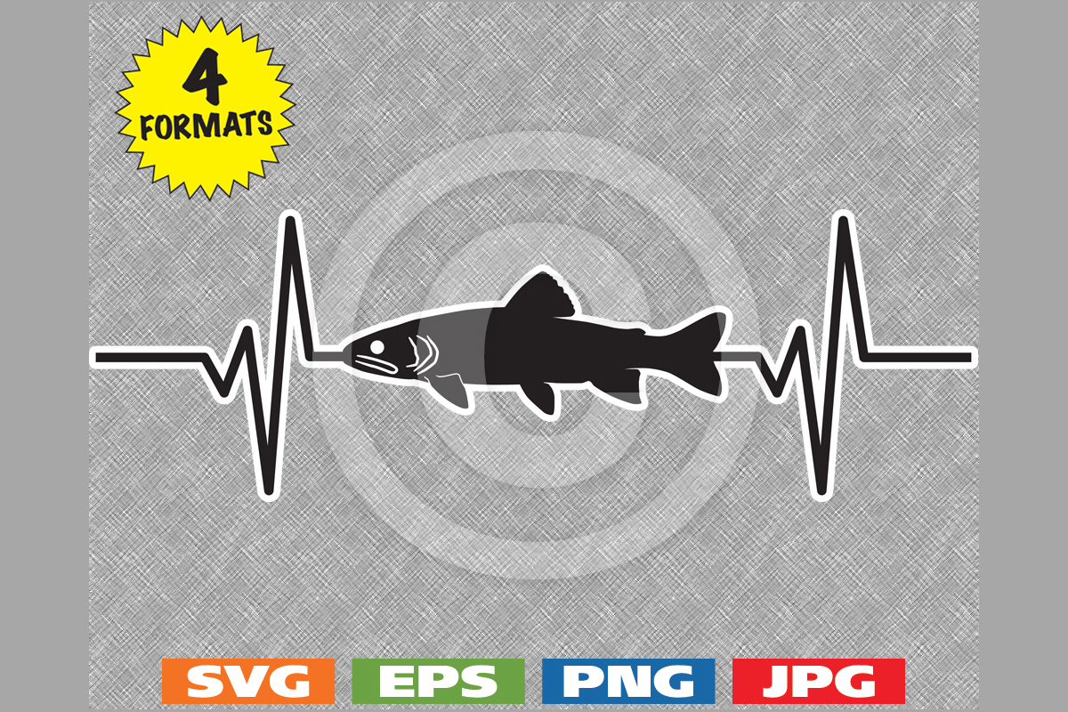 Download Free Trout Fish Fishing Silhouette Heartbeat Grafico Por for Cricut Explore, Silhouette and other cutting machines.