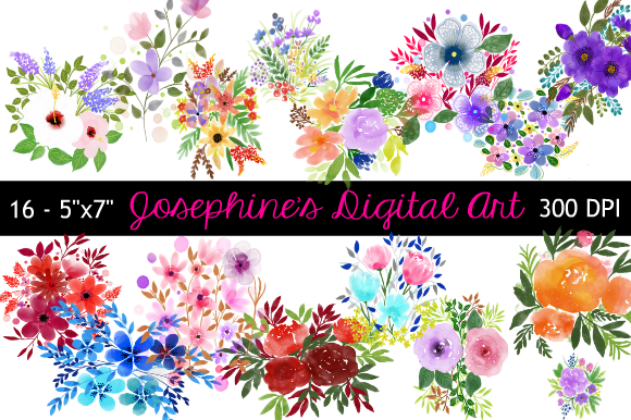 Print on Demand: Watercolor Bunches of Wildflowers Graphic Nature By Joe's Digital Art