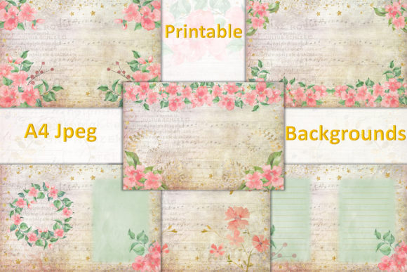 Print on Demand: Watercolour Peach Blossom Backgrounds Graphic Backgrounds By The Paper Princess