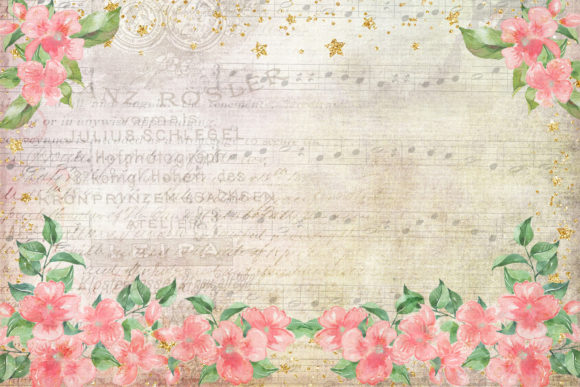 Print on Demand: Watercolour Peach Blossom Backgrounds Graphic Backgrounds By The Paper Princess - Image 4