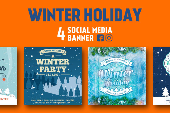 Print on Demand: Winter Social Media Banner Graphic Web Templates By RafozFarzo