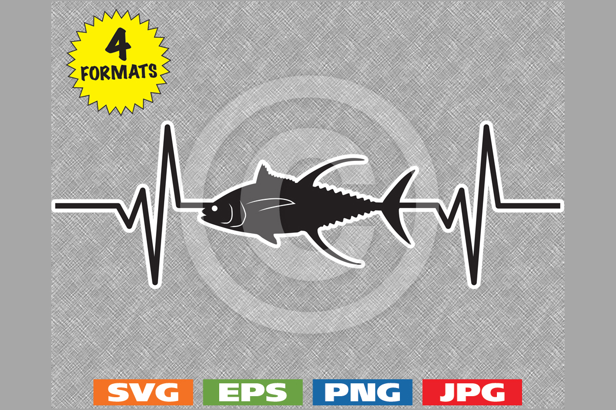 Download Free Yellowfin Tuna Fish Silhouette Heartbeat Graphic By for Cricut Explore, Silhouette and other cutting machines.