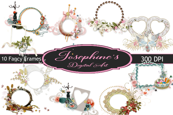 Print on Demand: 10 Fancy Clipart Frames / Borders 2 Graphic Backgrounds By Josephine's Digital Art