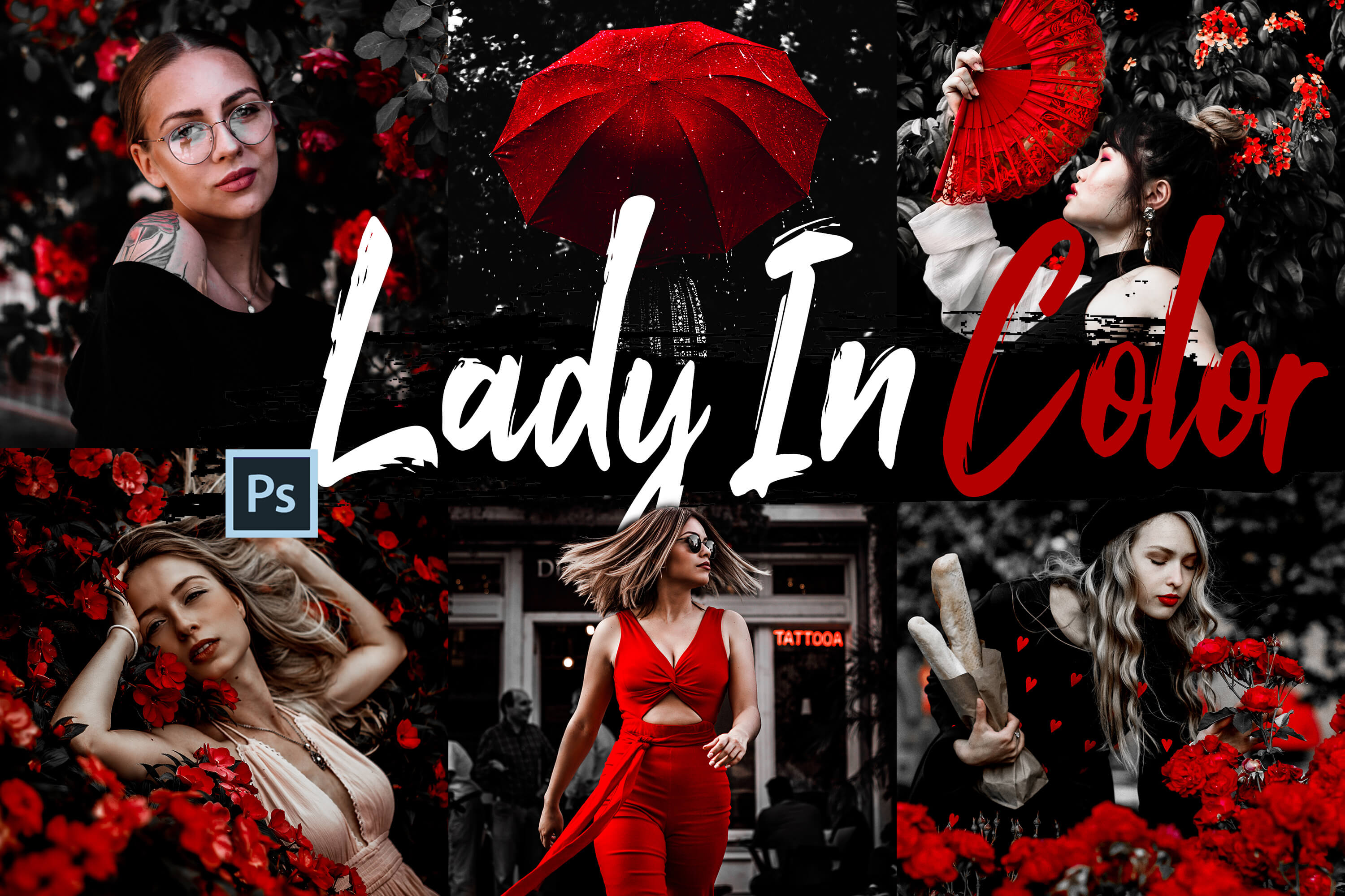 Download Free 10 Lady In Color Photoshop Actions Acr Graphic By 3motional for Cricut Explore, Silhouette and other cutting machines.