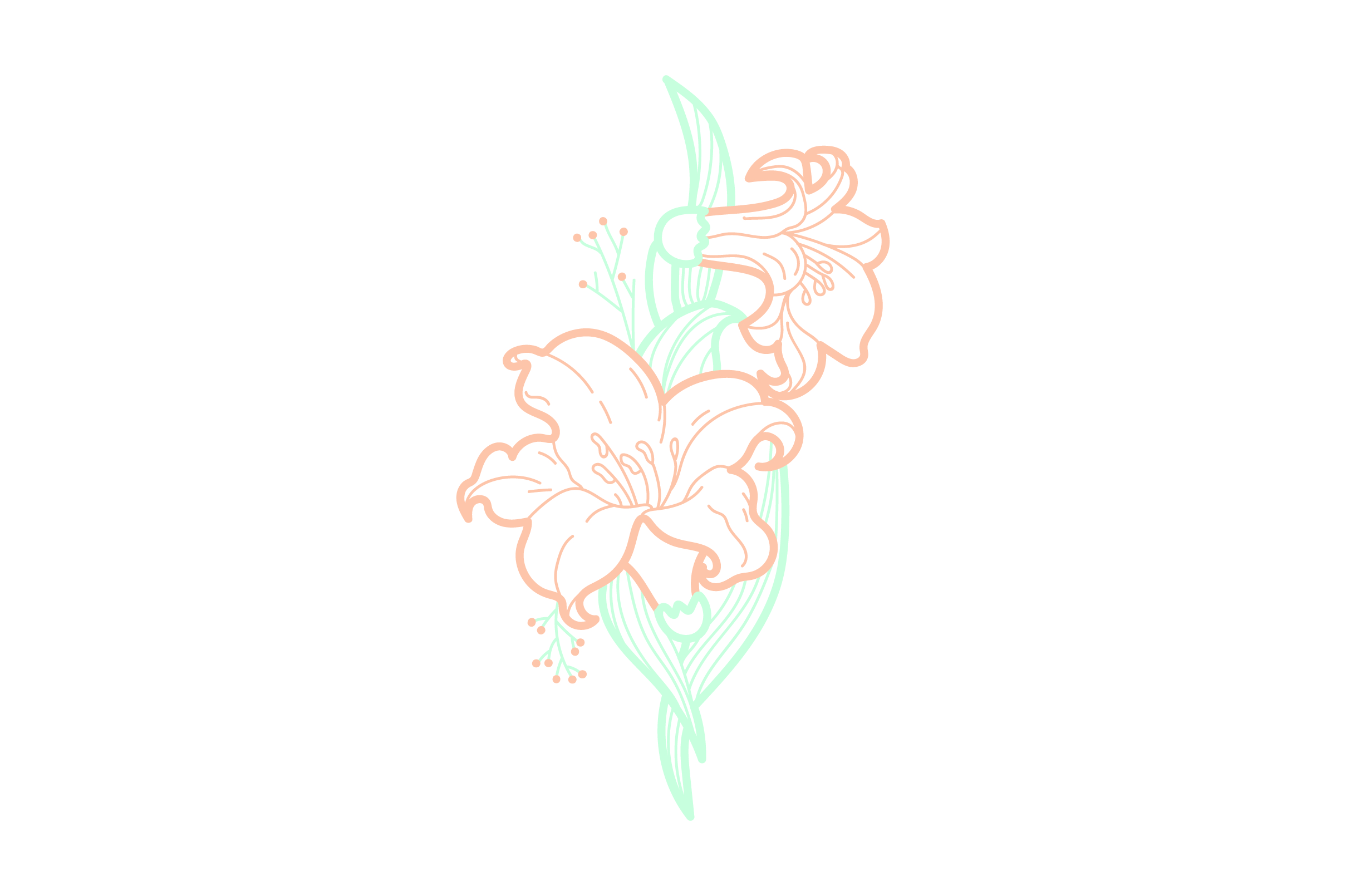 Download Free Orange Flowers Embellishment Outline Light Colors Svg Cut File for Cricut Explore, Silhouette and other cutting machines.