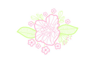Purple Flowers Embellishment Outline - Light Colors Spring Craft Cut File By Creative Fabrica Crafts