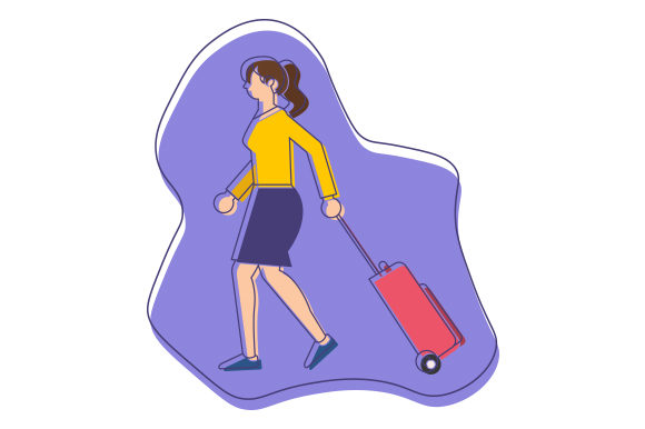 Download Free Woman Pulling Luggage Abstract Print Art Style Svg Cut File By Creative Fabrica Crafts Creative Fabrica for Cricut Explore, Silhouette and other cutting machines.