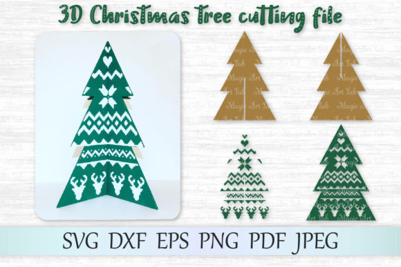 Download Free 3d Christmas Tree Graphic By Magicartlab Creative Fabrica for Cricut Explore, Silhouette and other cutting machines.
