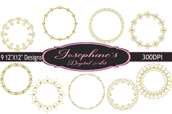 Print on Demand: 9 Art Deco Gold Frames Graphic Backgrounds By Josephine's Digital Art