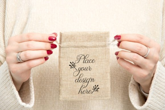 Download Free Burlap Small Brown Bag Sack Mockup Graphic By Leo Flo Mockups for Cricut Explore, Silhouette and other cutting machines.