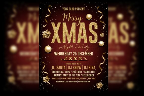 Christmas Night Party Poster Graphic Print Templates By Skull and Rose