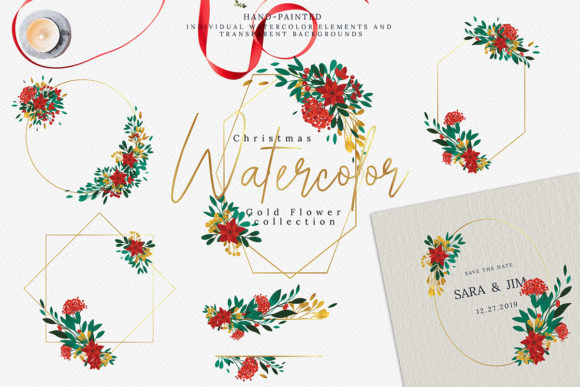 Download Free Christmas Watercolor Gold Flower Collect Graphic By 3motional for Cricut Explore, Silhouette and other cutting machines.