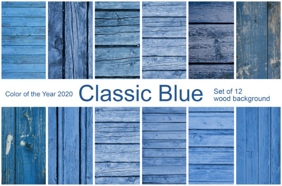 Print on Demand: Classic Blue. Set of 12 Wood Background Graphic Textures By Natalia Arkusha