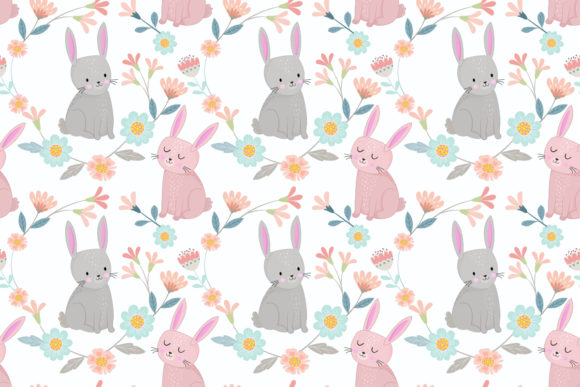Cute Bunny in Flowers Garden Pattern. Graphic Patterns By ranger262