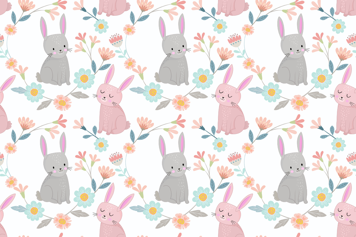 Download Free Cute Bunny In Flowers Garden Pattern Grafico Por Ranger262 for Cricut Explore, Silhouette and other cutting machines.