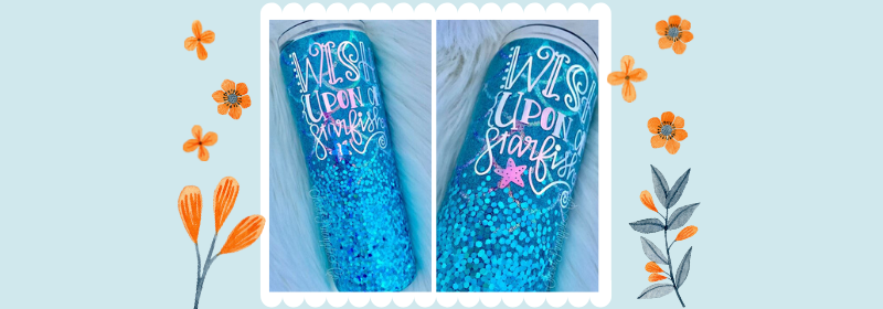 blue glitter tumblers with script font