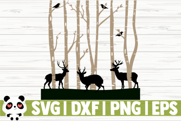 Print on Demand: Deer in Birch Trees Graphic Illustrations By CreativeDesignsLLC