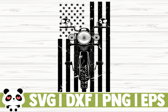 Print on Demand: Distressed Motorcycle US Flag Graphic Illustrations By CreativeDesignsLLC